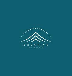 Logo design combined circle mountain and sun vector