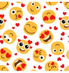 love emojis seamless pattern vector image