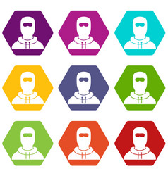 Man in balaclava icon set color hexahedron vector