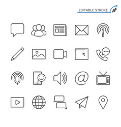 Media and communication line icons editable stroke vector