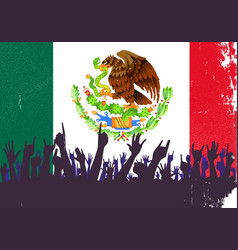 mexico flag with audience vector image