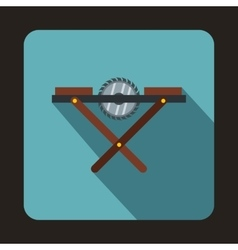 Movable circular saw icon flat style vector