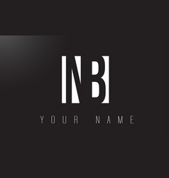nb letter logo with black and white negative vector image