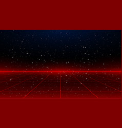 Newretrowave sci-fi red laser perspective grid vector
