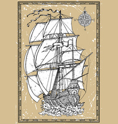 old sailing ship under full sails with compass vector image