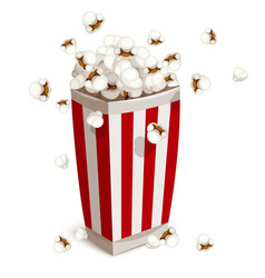 paper cup full of popcorn vector image vector image