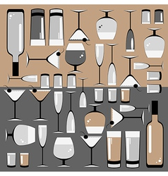 pattern of the glasses and bottles of wine vector image