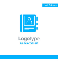 Phone book diary info blue solid logo template vector