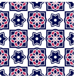 Portuguese azulejo tiles seamless patterns vector