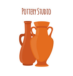 pottery studio label logo with vases amphoras vector image