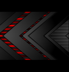 Red and black contrast tech arrows background vector