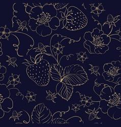 seamless pattern golden strawberry on dark vector image