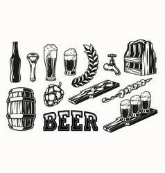 set beer elements vector image