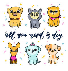 set cartoon dogs vector image