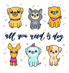 set cartoon dogs vector image