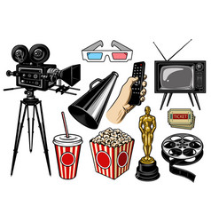 set of cinema objects vector image