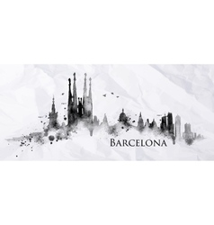 Silhouette ink Barcelona vector image