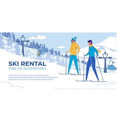 Ski rental - winter outdoor activity adventures vector