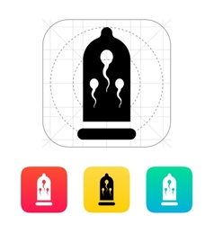 Sperm in condom icon vector