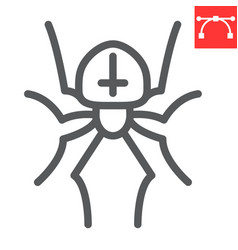 Spider line icon halloween and scary arachnid vector