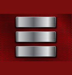 steel plates on red metal perforated background vector image
