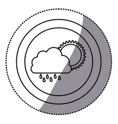 Sticker monochrome circular frame with cloud with vector
