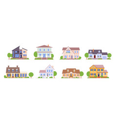 suburban house set isolated on white background vector image
