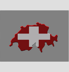 switzerland map and flag on grey background vector image