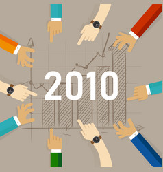 team work together set target growth for 2010 vector image