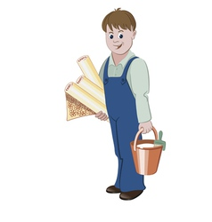 The handyman standing with rolls of wallpaper vector image