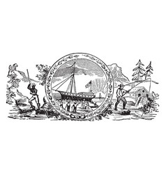 The seal of colonial new hampshire in 1629 vintage vector
