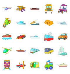 transportation of people icons set cartoon style vector image