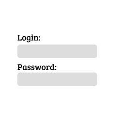 User authorization login and password on white vector
