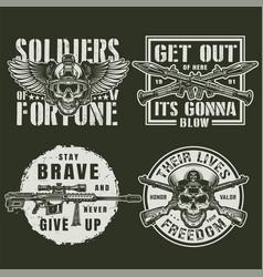 Vintage military logos vector