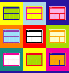 Web window sign pop-art style colorful vector