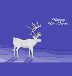 White deer cartoon animal reindeer flat blue vector