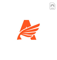 wings logo initial a abstract design icon isolated vector image