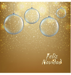 xmas balls with golden background vector image