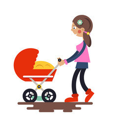 Young mother with baby carriage - pram isolated vector