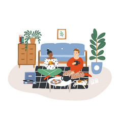 young romantic couple sitting on floor drinking vector image