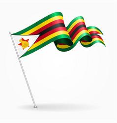 Zimbabwe pin wavy flag vector