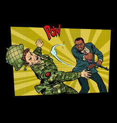 civil beats invader military soldier vector image vector image