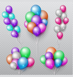 color party flying balloons bunches isolated vector image