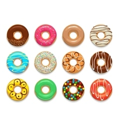 Donuts icons set cartoon style vector image