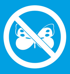 no butterfly sign icon white vector image vector image