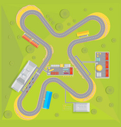 racing course flat composition vector image vector image