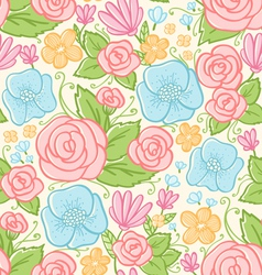 Roses and violets pattern vector image vector image