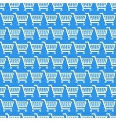 White shopping carts on blue seamless pattern vector image vector image