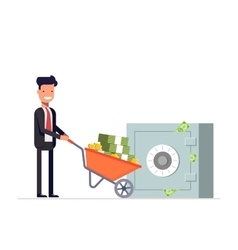 Businessman or manager carries money in vector