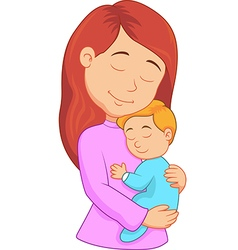 Cartoon mother holding her son vector image vector image